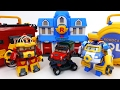 Transforming Police Car Poli Fire Truck Roy Robocar Rescue Station & Transforming Base Playset